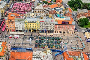 Zagreb, helicopter aerial view